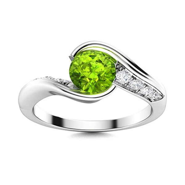 Natural 0.82 CTW Peridot & Diamond Engagement Ring 18K White Gold