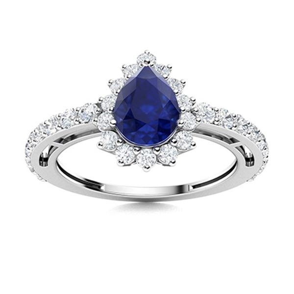 Natural 1.49 CTW Sapphire & Diamond Engagement Ring 14K White Gold