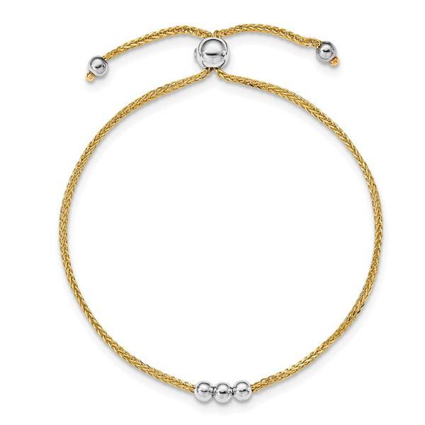 14K Two-tone Bead Adjustable Bracelet
