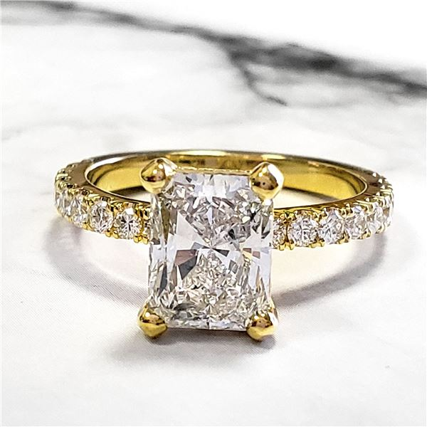 Natural 2.22 CTW Radiant Cut Diamond Engagement Ring 14KT Yellow Gold