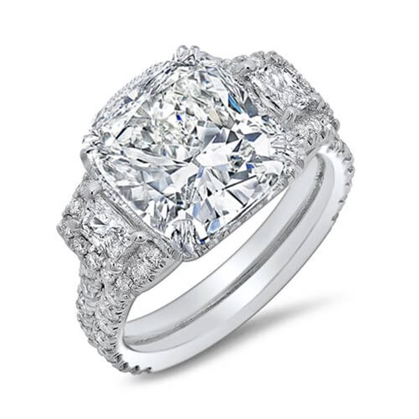 Natural 4.17 CTW Cushion & Halo Trapezoids Diamond Engagement Ring 14KT White Gold