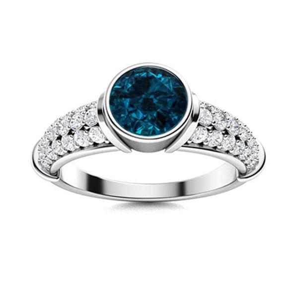 Natural 1.97 CTW Topaz & Diamond  Engagement Ring 18K White Gold