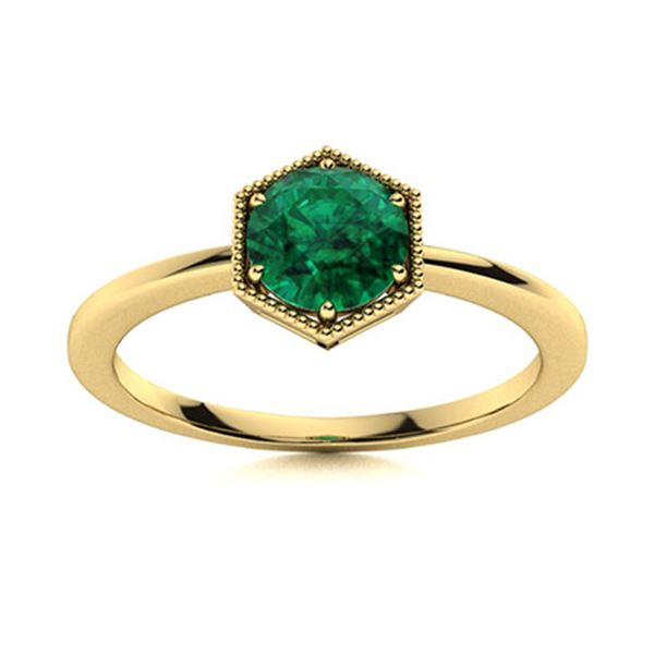 Natural 0.42 CTW Emerald Solitaire Ring 18K Yellow Gold