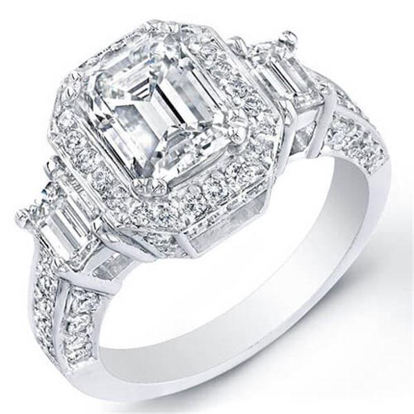 Natural 2.47 CTW Emerald Cut 3-Stone Halo Diamond Ring 18KT White Gold