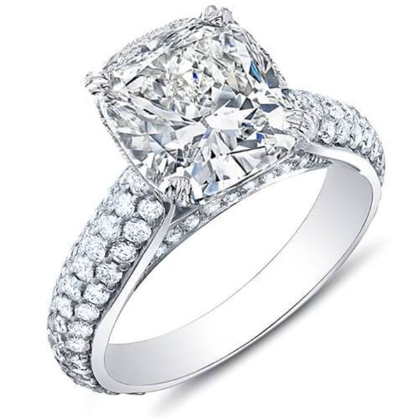 Natural 2.52 CTW Cushion Cut Micro Pave Diamond Engagement Ring 18KT White Gold