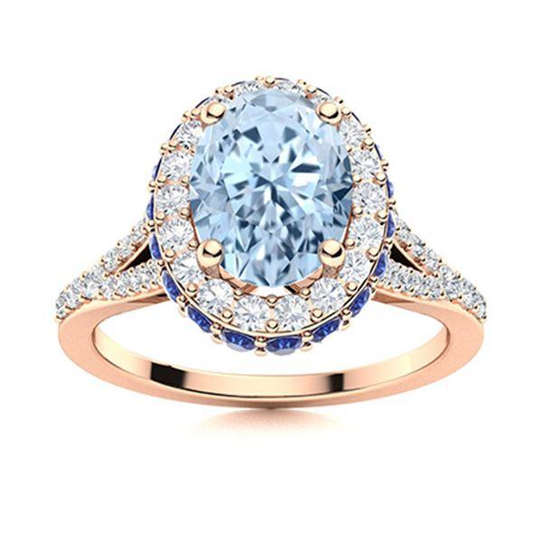 Natural 1.81 CTW Aquamarine , Sapphire & Diamond Engagement Ring 14K Rose Gold