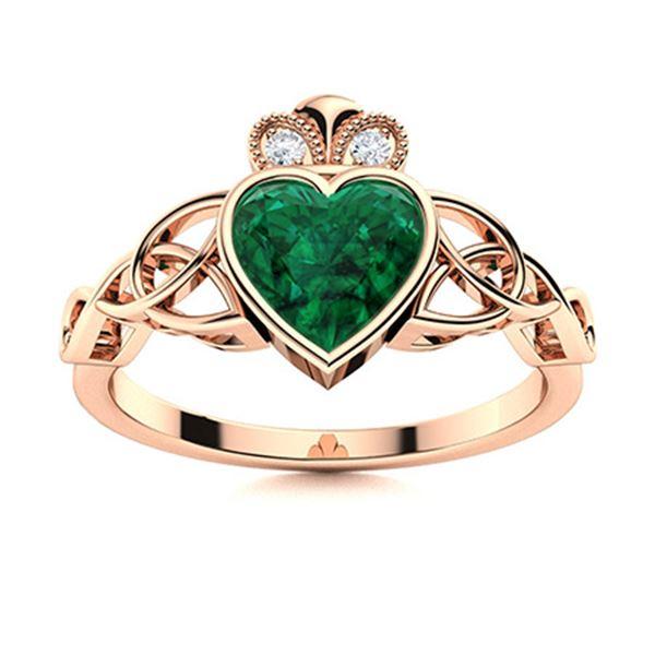 Natural 0.45 CTW Emerald & Diamond Engagement Ring 14K Rose Gold