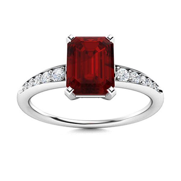 Natural 1.65 CTW Garnet & Diamond Engagement Ring 18K White Gold