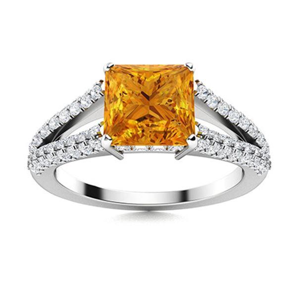 Natural 1.60 CTW Citrine & Diamond Engagement Ring 18K White Gold