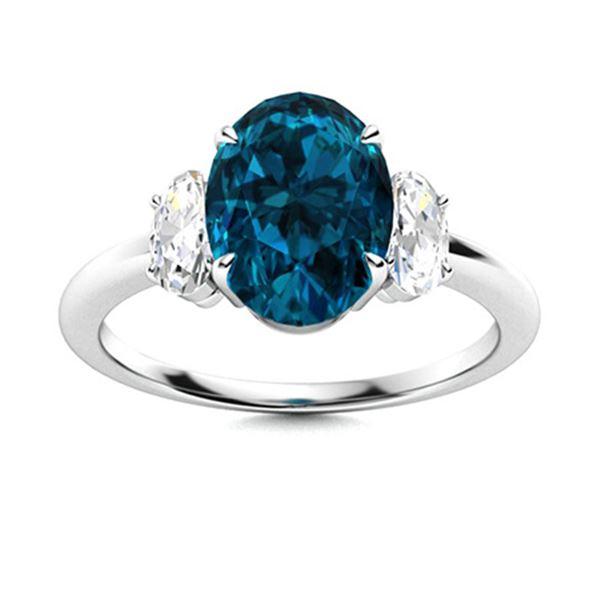 Natural 3.59 CTW Topaz & Diamond Engagement Ring 14K White Gold