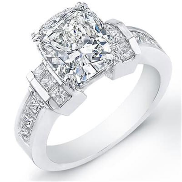 Natural 2.32 CTW Cushion Cut Diamond Engagement Ring 14KT White Gold