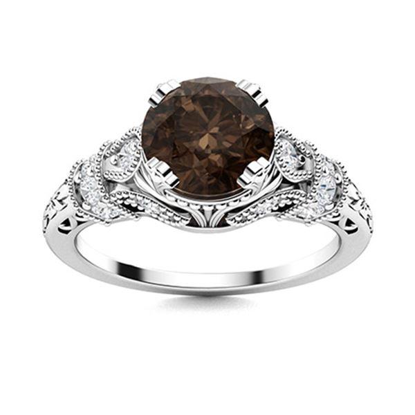 Natural 1.76 CTW Smoky Quartz & Diamond Engagement Ring 18K White Gold