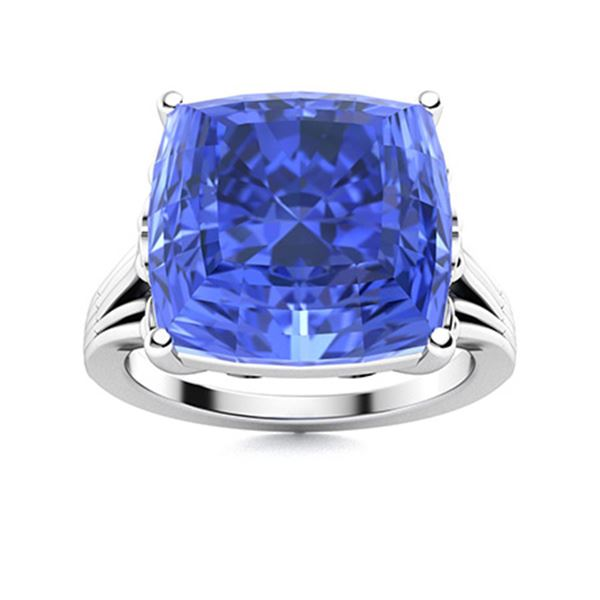 Natural 5.51 CTW Ceylon Sapphire Solitaire Ring 14K White Gold