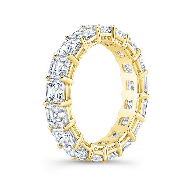 Natural 6.02 CTW Asscher Cut Diamond Eternity Ring 18KT Yellow Gold