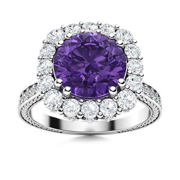 Natural 2.43 CTW Amethyst & Diamond Engagement Ring 18K White Gold