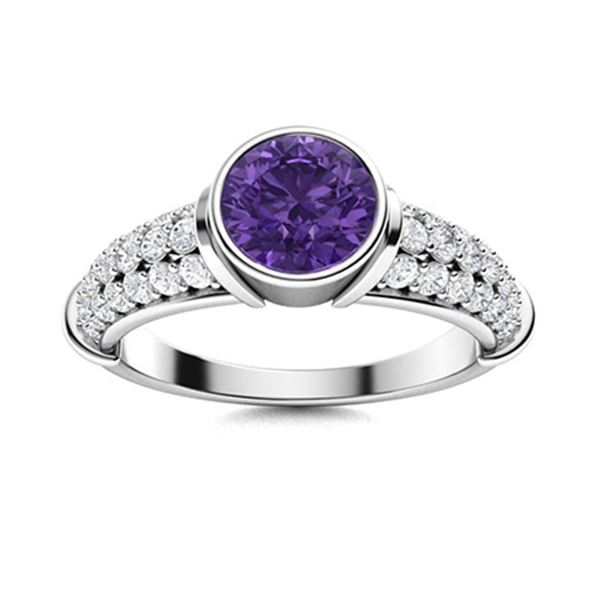 Natural 1.96 CTW Amethyst & Diamond Engagement Ring 14K White Gold