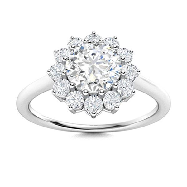 Natural 1.18 CTW Diamond Solitaire Ring 18K White Gold