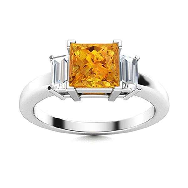 Natural 0.95 CTW Citrine & Diamond Engagement Ring 14K White Gold
