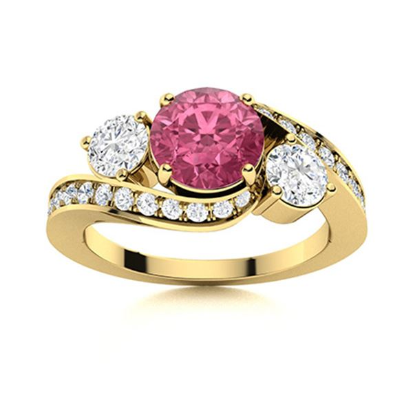 Natural 1.42 CTW Tourmaline & Diamond Engagement Ring 18K Yellow Gold