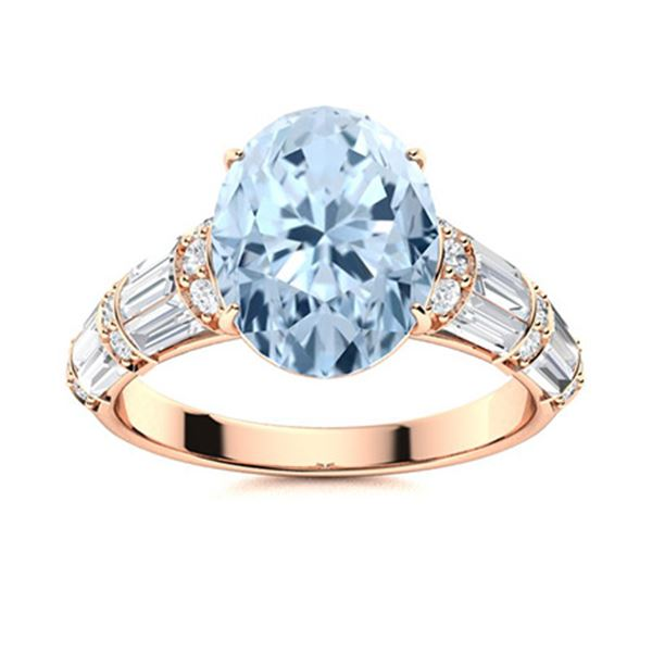Natural 3.47 CTW Aquamarine & Diamond Engagement Ring 14K Rose Gold