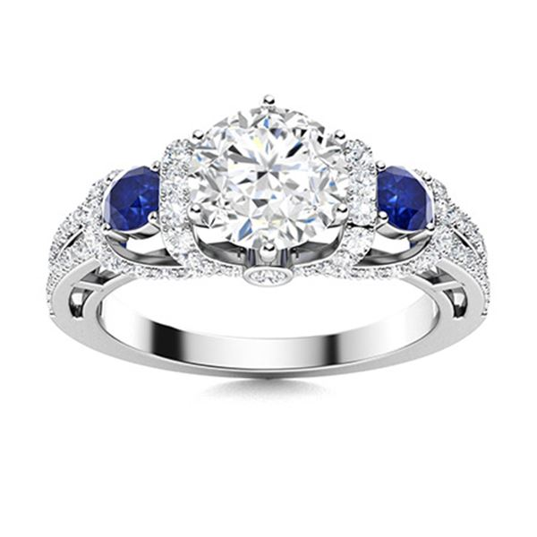 Natural 1.86 CTW Diamond & Sapphire Engagement Ring 14K White Gold