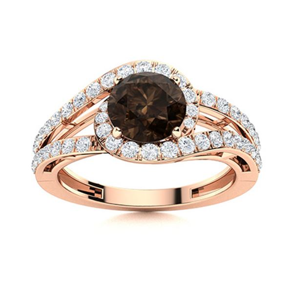 Natural 1.27 CTW Smoky Quartz & Diamond Engagement Ring 18K Rose Gold
