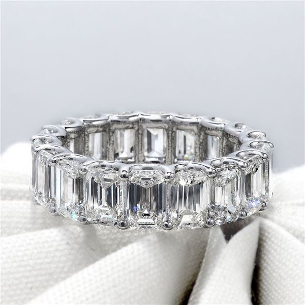 Natural 8.02 CTW U-Setting Emerald Cut Diamond Eternity Ring 18KT White Gold