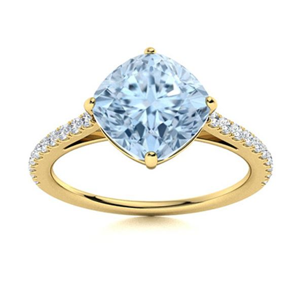 Natural 1.62 CTW Aquamarine & Diamond  Engagement Ring 18K Yellow Gold