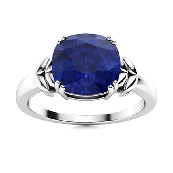 Natural 2.22 CTW Sapphire Solitaire Ring 18K White Gold