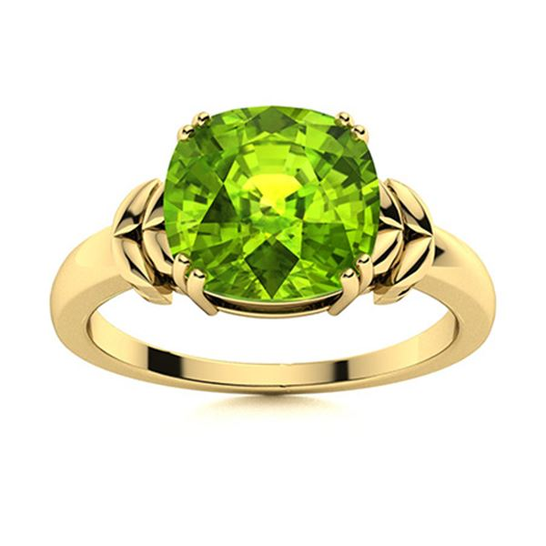 Natural 1.42 CTW Peridot Solitaire Ring 18K Yellow Gold