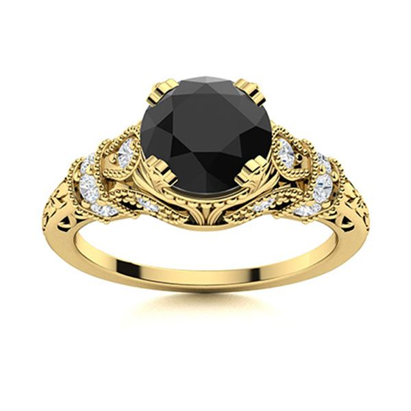 Natural 1.85 CTW Black & White Diamond Engagement Ring 14K Yellow Gold