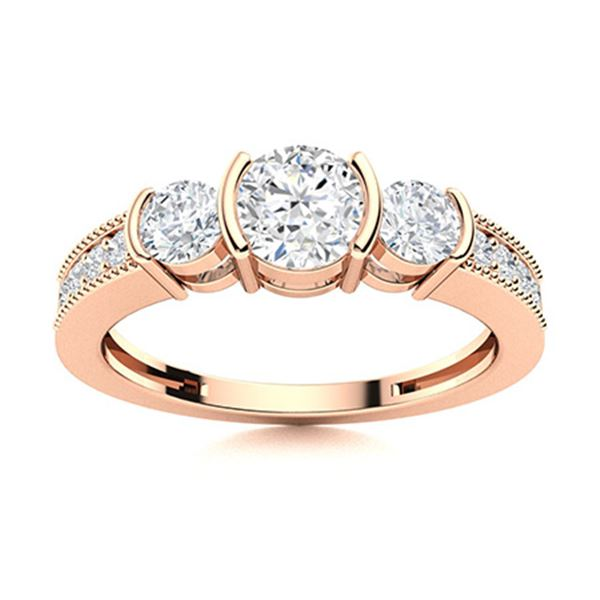 Natural 0.86 CTW Diamond Solitaire Ring 14K Rose Gold