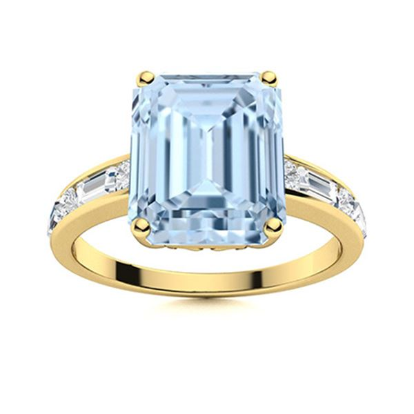 Natural 2.41 CTW Aquamarine & Diamond Engagement Ring 14K Yellow Gold
