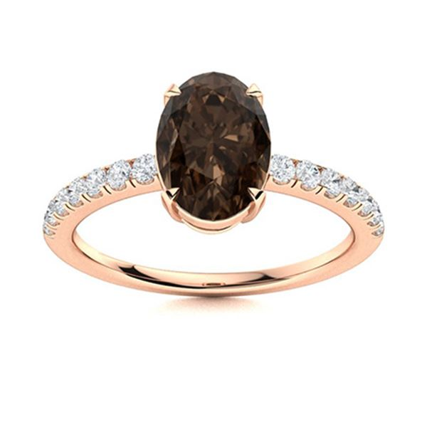 Natural 4.32 CTW Smoky Quartz & Diamond Engagement Ring 18K Rose Gold