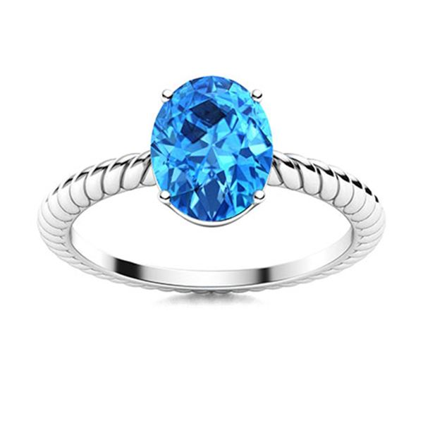 Natural 1.43 CTW Topaz Solitaire Ring 18K White Gold