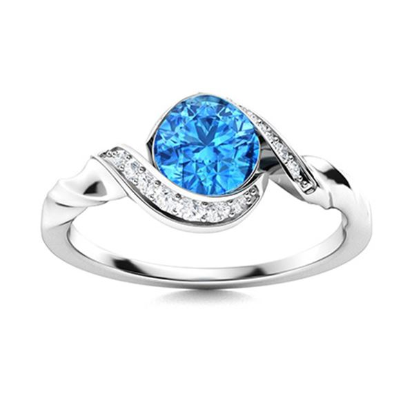 Natural 0.55 CTW Topaz & Diamond Engagement Ring 18K White Gold