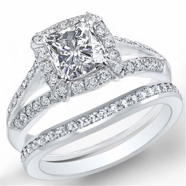 Natural 2.32 CTW Halo Radiant Cut Split Shank Diamond Engagement Ring 14KT White Gold