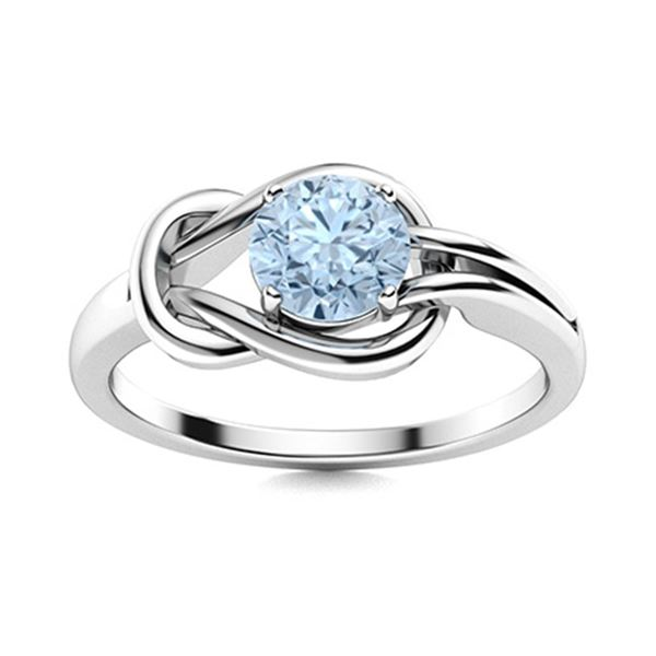 Natural 0.62 CTW Aquamarine Solitaire Ring 18K White Gold