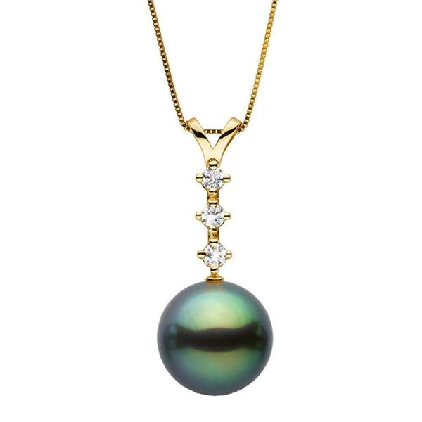 Black Tahitian Pearl and Diamond Constellation Pendant