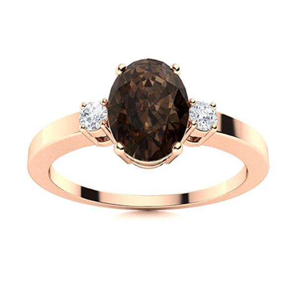 Natural 2.37 CTW Smoky Quartz & Diamond Engagement Ring 14K Rose Gold