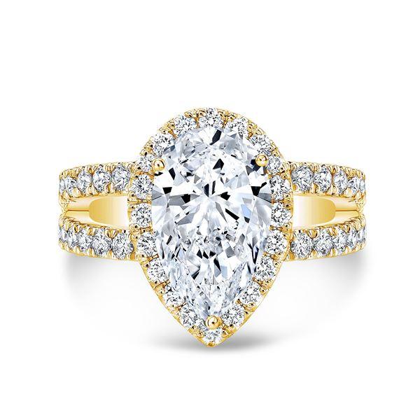 Natural 3.92 CTW Pear Cut Split Shank Diamond Engagement Ring 18KT Yellow Gold