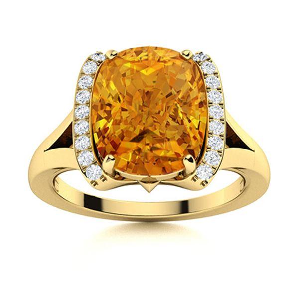 Natural 2.66 CTW Citrine & Diamond Engagement Ring 18K Yellow Gold
