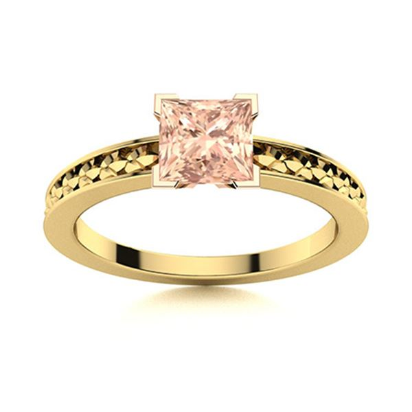 Natural 0.82 CTW Morganite Solitaire Ring 18K Yellow Gold