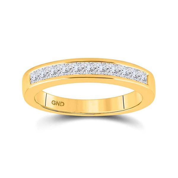 14kt Yellow Gold Womens Princess Diamond Wedding Single Row Band 1/2 Cttw