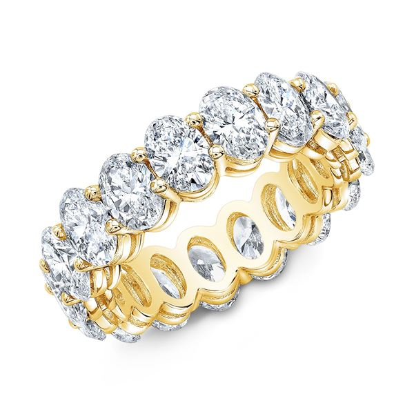 Natural 5.02 CTW Oval Cut Diamond Eternity Ring 18KT Yellow Gold