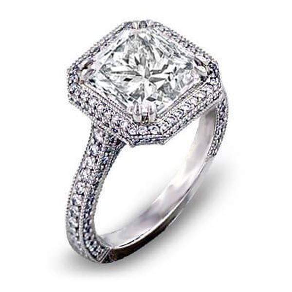 Natural 2.67 CTW Halo Micro Pave Princess Cut Diamond Engagement Ring 14KT White Gold