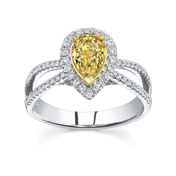 Natural 3.27 CTW Pear Cut Canary Light Yellow Diamond Engagement Ring 14KT Two-tone