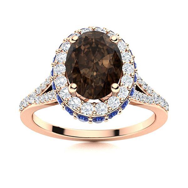 Natural 2.13 CTW Smoky Quartz, Sapphire & Diamond Engagement Ring 18K Rose Gold