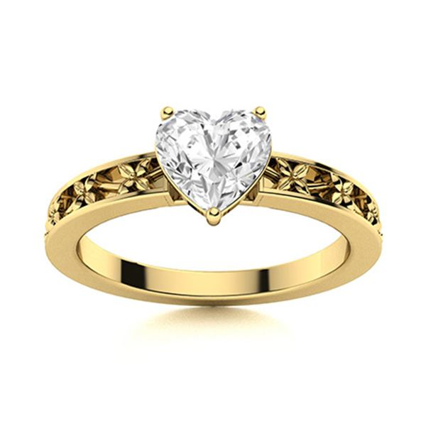 Natural 0.51 CTW Diamond Solitaire Ring 14K Yellow Gold