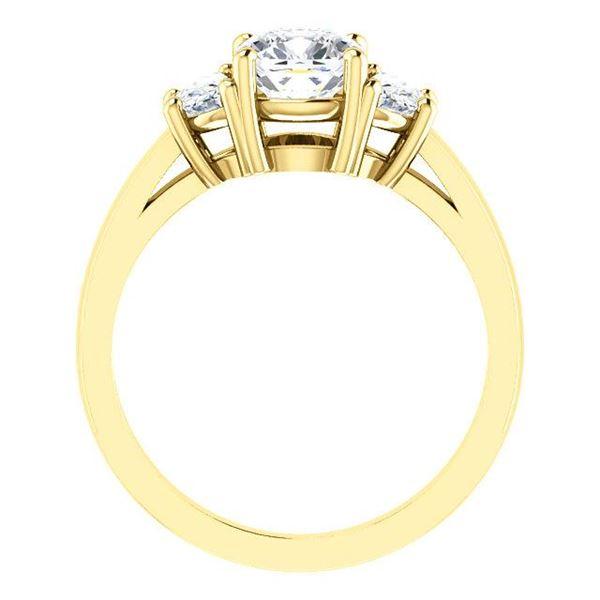 Natural 2.32 CTW Cushion Cut & Half Moons 3-stone Diamond Ring 14KT Yellow Gold